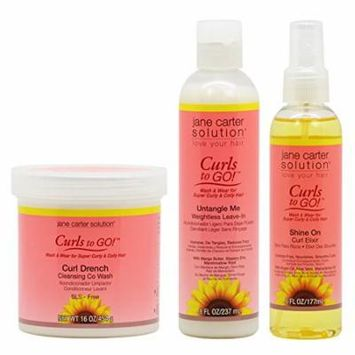 Jane Carter Curls to GO Curl Drench Cleansing Co Wash 16oz & Untangle Me Leave-In 8oz & Shine On Curl Elixir 6oz