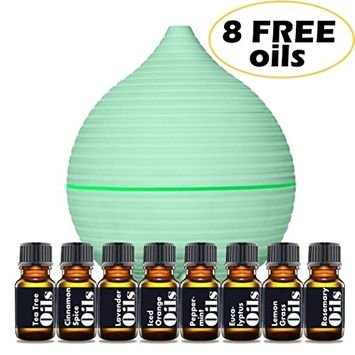 Essential Oil Diffuser Starter Kit – Includes Top 8 Essential Oils (Tea Tree, Lavender, Peppermint & more) - Large 200ml Tank Quietly Mists up to 4 Hours – Auto Shut Off - Multi Colored LED