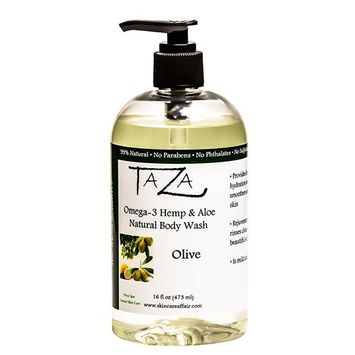 premium taza natural omega-3 hemp & aloe olive body wash, 16 fl oz ? for soft smooth skin ? contains: omega-3 hemp seed oil, aloe seed juice, chamomile flower, white willow bark extract