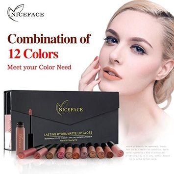 Hunputa Lipstick,12 Colors/Set New Lip Lingerie Matte Liquid Lipstick Waterproof Lip Gloss Makeup Tool [A]