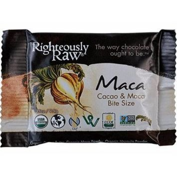 RIGTHEOUSLY RAW ORGANIC CHOCOLATE MACA BITE SIZE, 16 - 0.35 OUNCE