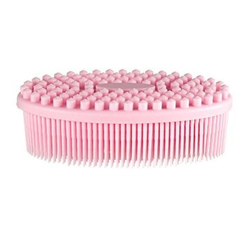 PRETTY SEE Silicone Bath Body Brush Shower Massage Scrubber for Cellulite Treatment & Skin Exfoliation, Pink