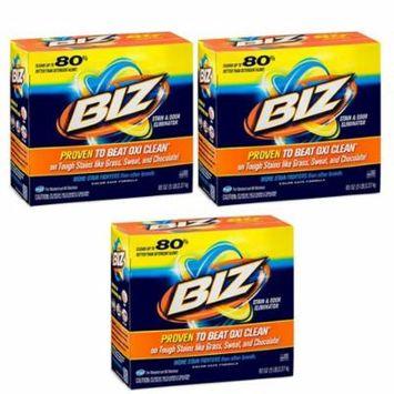 BIZ Stain & Odor Eliminator Laundry Detergent Powder, 80 oz. - 3 Pack