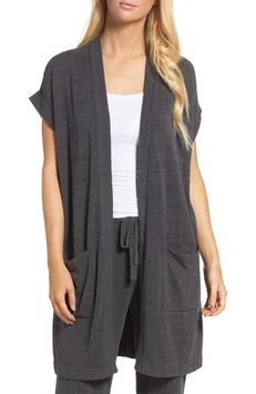 Barefoot Dreamsr Women's Barefoot Dreams Cozychic Ultra Lite Lounge Cardigan, Size Small - Grey