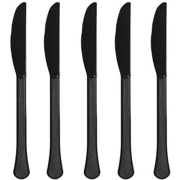 Premium Heavy Weight Plastic Knives | Jet Black | Pack of 48 | Party Supply