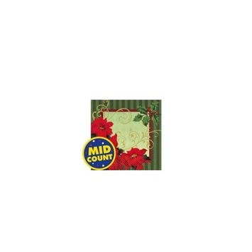 Amscan Vintage Poinsettia Luncheon Napkins Christmas Party Tableware (36 Piece), Red/Green, 6.5
