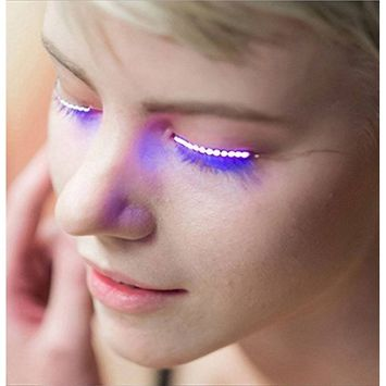 Plastic Sound Control LED Mascara Flash Colorful Electric Eyelashes with Two Button Batteries