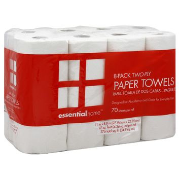 Essential Home Paper Towels 2-Ply, 8 Pack
