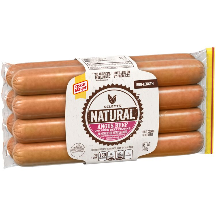 Oscar Mayer Selects Natural Bun Length Angus Beef Hot Dogs, 8 ct - 14.0 oz Package
