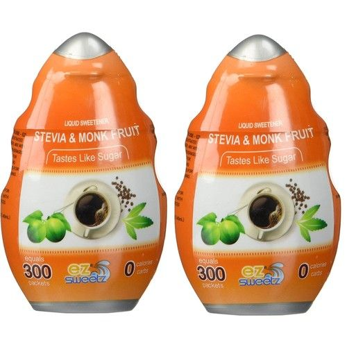 EZ-Sweetz Stevia & Monk Fruit (2 Pack | 1.36oz - Liquid Sweetener 300 Servings/Bottle)