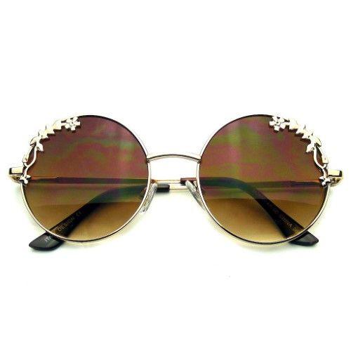 Emblem Eyewear Womens Flower Floral Boho Round Mirror Sunglasses