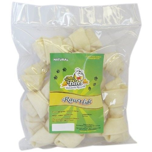 Mr Bites 4-Inch Natural Rawhide Bone, 12-Pack