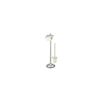 Kingston Brass CC2011 Free Standing Toilet Paper Holder with Stool Brush Holder- Polished Chrome
