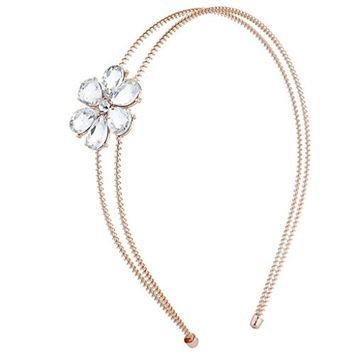 LUX accesorios rose gold tono doble alambre lado Flores Moda Diadema