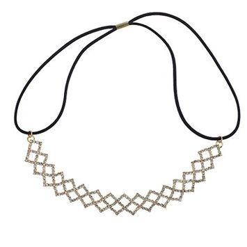 Lux Accessories Goldtone Criss Cross Crystal Rhinestone Stretch Headband