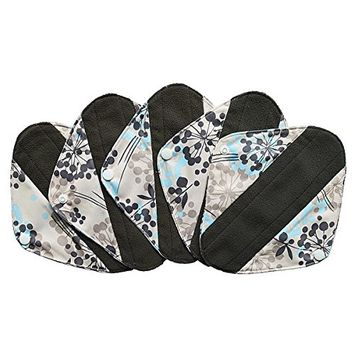 5 Pieces Charcoal Bamboo Mama Cloth/ Menstrual Pads/ Reusable Sanitary Pads [Pantyliner [8 inch], Silver]