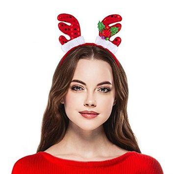 Lux Accessories Christmas Xmas Ugly Sweater Mistletoe Antlers Santa Elf Headband