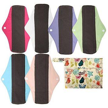 7pcs Set 1pc Mini Wet Bag +6pcs 10 Inch Regular Charcoal Bamboo Mama Cloth/Menstrual Pads/Reusable Sanitary Pads