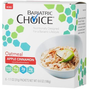 Bariatric Choice High Protein Oatmeal/Instant Low-Carb Hot Oatmeal Diet Cereal - Apple Cinnamon (6 Servings/Box) - Low Fat, Low Carb, Cholesterol Free