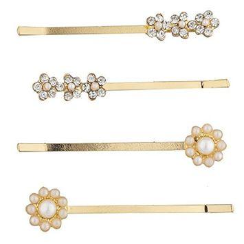 Lux Accessories Goldtone Imitation Pearl Rhinestone Floral Flower Hair Clip Set 4pcs