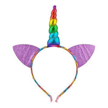 Lux Accessories Rainbow Caticorn Unicorn Cat Ear Headband For Girls