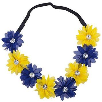 Lux Accessories Michigan State College Blue Yellow Chiffon Headband Flower Crown
