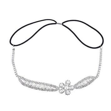 Lux Accessories Silver Tone Crystal Rhinestone Pearl Flower Stretch Headband