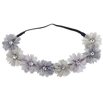 Lux Accessories Multicolor Grey Rhinestone Flower Crown Headband Headwrap