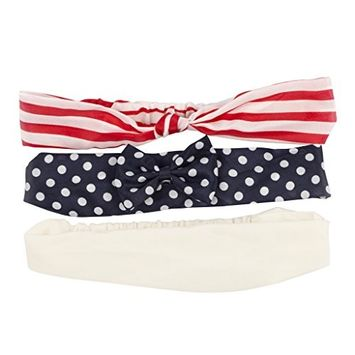 Lux Accessories Red White and Blue Glitter Dot Flower americana Headband