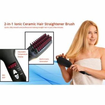 2 in 1 Ionic Hair Straightener Brush Detangling Styling Comb Fast Ceramic Heating Adjustable Temperature Display Settings For Silky Smooth Hair