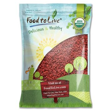 Organic Goji Berries by Food to Live, Sun Dried, Large and Juicy (Kosher) — 10 Pounds