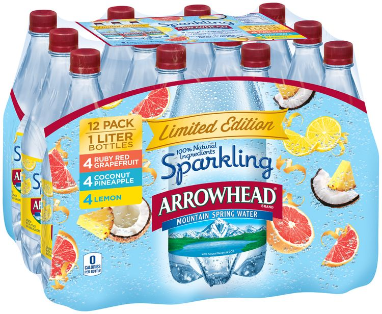 Arrowhead® Sparkling Ruby Red Grapefruit/Coconut Pineapple/Lemon Mountain Spring Water Variety Pack 12-1L Plastic Bottles
