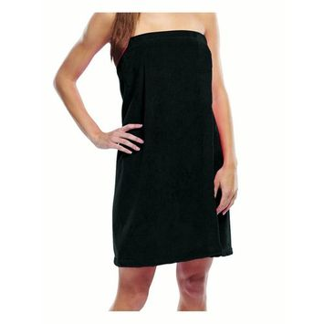 Terry Spa Wrap for Women, BLACK, Small, Medium
