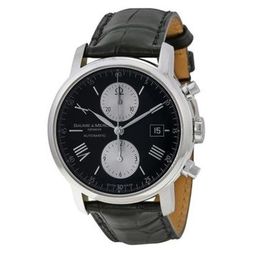 Baume and Mercier Classima Executives XL Automatic Black Leather Mens Watch 08733