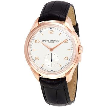Baume and Mercier Clifton Silver Dial 18kt Rose Gold Men's Watch