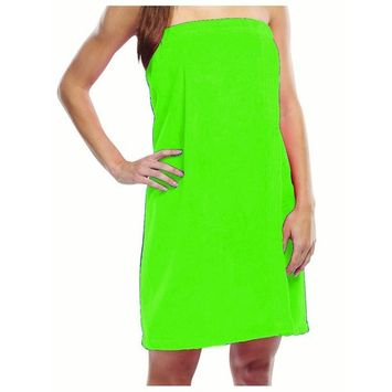 Spa Wrap for Women, Terry Cotton ladies cover up, LIME, XXL