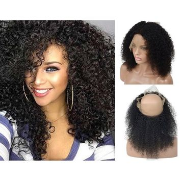 360 Brazilian Virgin Human Hair Lace Frontal Closure Pre-Plucked Free Part for Black Women, Veer 130% Density Curly Hair With Baby Hair Natural Black(#1B) 16inch
