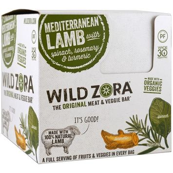 Wild Zora Foods LLC, Meat & Veggie Bar, Mediterranean Lamb with Spinach, Rosemary & Turmeric, 10 Packs, 1.0 oz (28 g) Each(pack of 3)