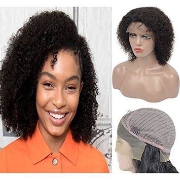 Brazilian Virgin Remy Lace Front Wigs Human Hair For Women, Veer Short Curly Real Human Hair with Baby Hair 10 inch Lace Wigs Natural Black (#1B)