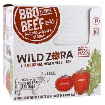 Wild Zora Foods LLC, Meat & Veggie Bar, BBQ Beef with Tomato, Pepper & Kale, 10 Packs, 1.1 oz (31 g) Each(pack of 1)