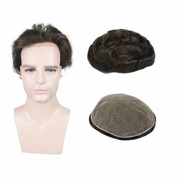 Full Soft French Lace Human Hair pieces Toupee for Men, Veer European Virgin Human Hair Mens Replacement System With 7X9 Inch Cap Dark Brown Color(#2)