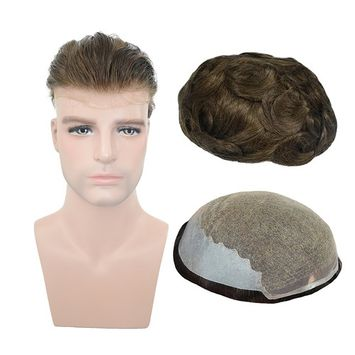 European Virgin Human hair Toupee For Men with 8x10 inch Soft French Lace Cap with 2inch clearly PU in Back, Veer Natural Wave Men's Hairpiece Replacement System Light Brown Color