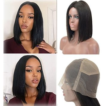 Straight Full Lace Human Hair Wigs Natural Hairline 130% Density for Black Women, Veer Brazilian Virgin Hair with Natural Baby Hair Wigs Natural Color 12inch (#1B)