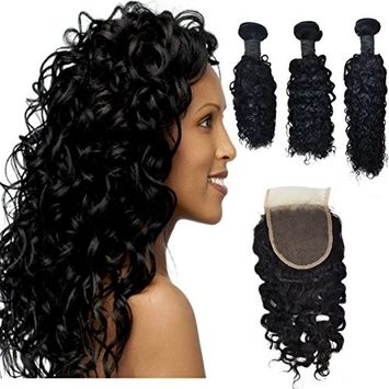 Curly Brazilian Virgin Hair 3 Bundles With 4X4inch Free Part Lace Closure 100% Unprocessed Virgin Human Hair Extensions Natural Color (12 14 16+12)