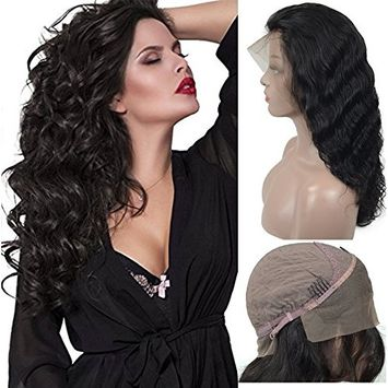 Long Body Wave Human Hair Lace Front Wigs For Black Women, Veer Glueless Brazilian Virgin 130% Density Natural Hairline With Baby Hair 20inch Natural Black(#1b)