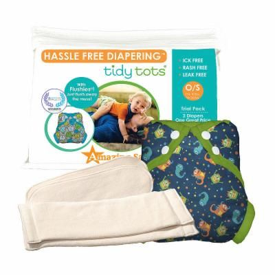 Tidy Tots Hassle Free 2 Diaper Trial Set with Monsters Cover, Unisex, Multi-colored, One Size