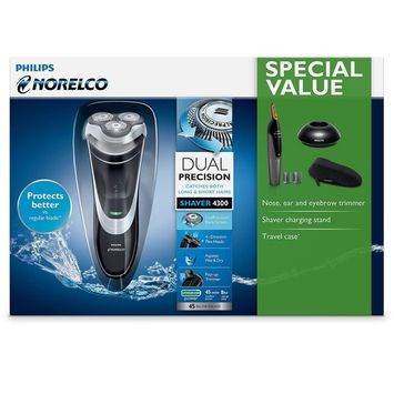 Philips Norelco Electric Shaver, 4000 Series - 4300, Black, Silver, AT850/49 [Standard Packaging, With Accessories]