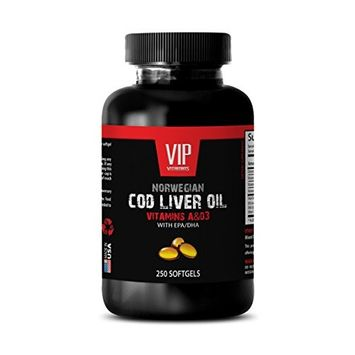NORWEGIAN COD LIVER OIL with Vitamins A & D3/EPA & DHA - Brain booster - 1 Bottle 250 Softgels