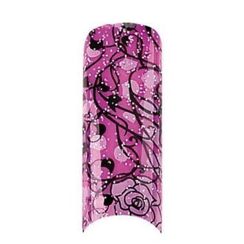 Cala Airbrushed Nail Tips Set Black & Pink Rose Petal 87731+ Aviva Nail File+ Nail Glue
