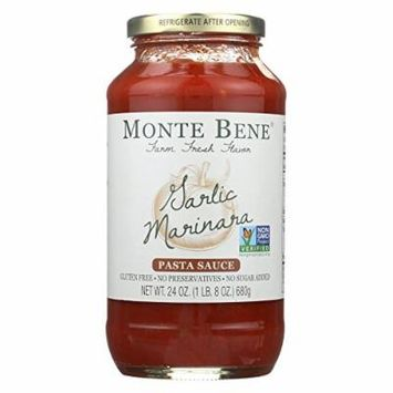 Monte Bene Pasta Sauce - Garlic Marinara - Case of 6 - 24 Fl oz.